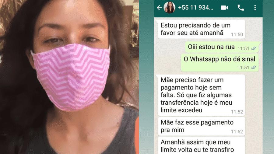 Yanna mostrou print da conversa de golpista com sua mãe, Lúcia, e pediu cuidado para seus contatos  - Reprodução/Instagram/@yannalavigne