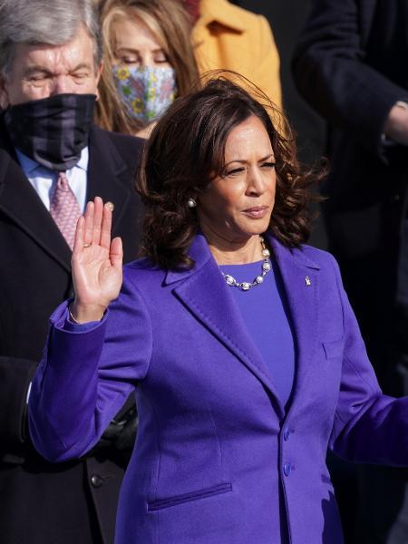 Kamala Harris, a vice-presidente dos Estados Unidos, durante a cerimônia da posse - Getty Images