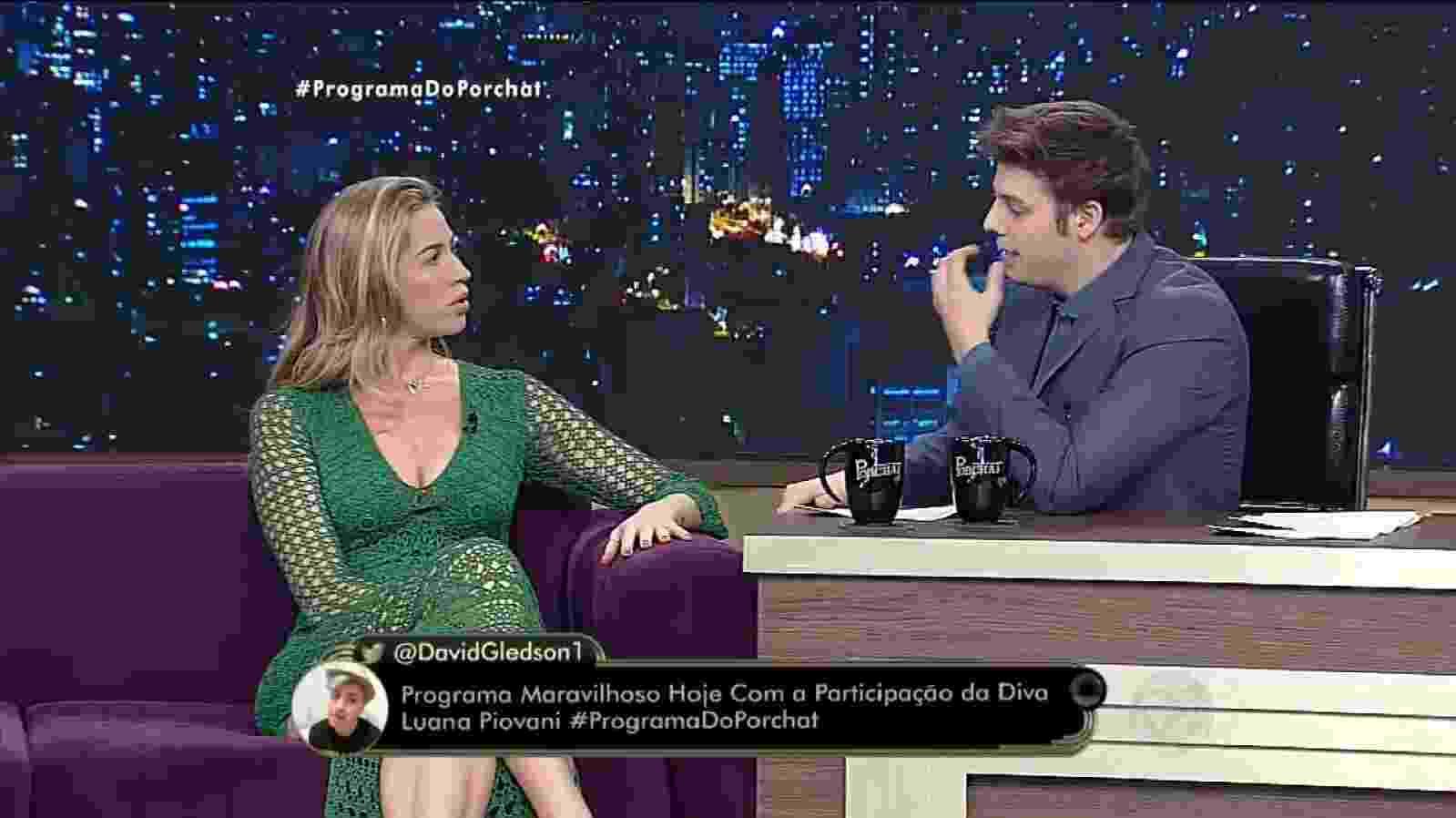 """1.nov.2016 - Em entrevista ao """"Programa do Porchat"""", Luana Piovana diz que pensa em deixar o Brasil - Reprodução /TV Record"""