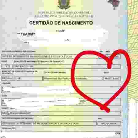 Thammy Miranda publica sua nova certidão de nascimento com o gênero masculino - Reprodução/Instagram/thammymiranda - Reprodução/Instagram/thammymiranda