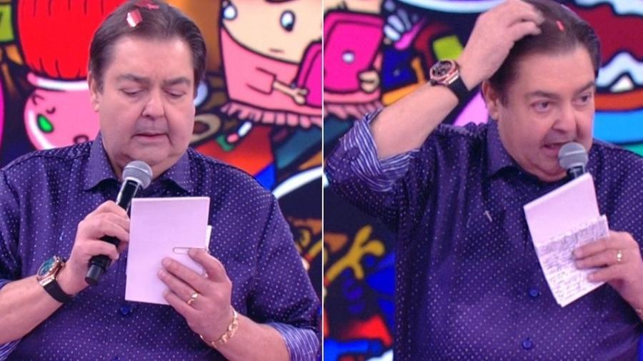 """Faustão percebe que cabelo está sujo e o limpa durante o """"Domingão"""" - Montagem/Reprodução/TV Globo"""