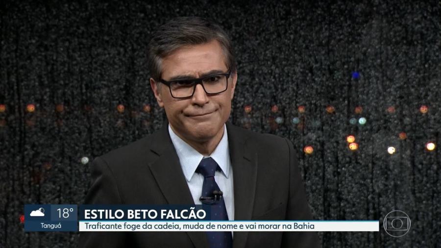 """Telejornal """"RJ2"""", da Globo, compara traficante a Beto Falcão, protagonista de """"Segundo Sol"""" - Reprodução/TV Globo"""