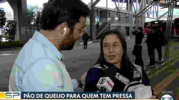 Momento em que entrevistada confundiu o nome de Rodrigo Bocardi - Reprodução/TV Globo - Reprodução/TV Globo