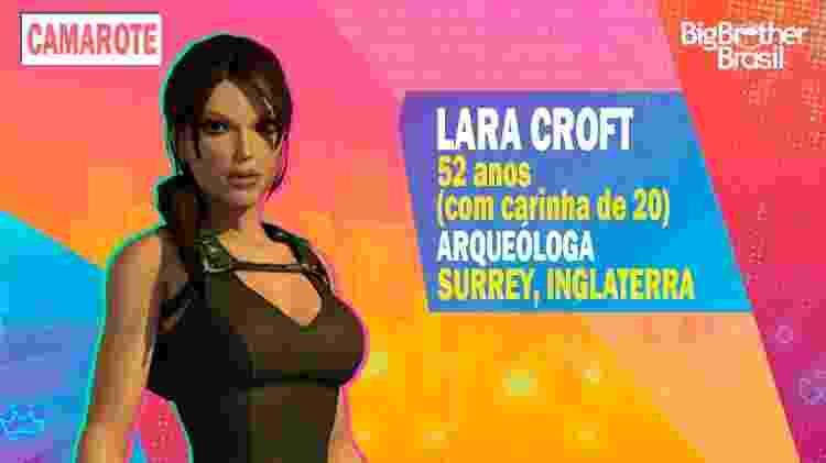 Lara Croft no BBB - Montagem: Allan Francisco / Divulgação (Crystal Dynamics) - Montagem: Allan Francisco / Divulgação (Crystal Dynamics)