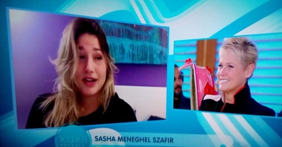 28.mar.2016 - Sasha grava depoimento para homenagear a mãe pelos seus 53 anos.