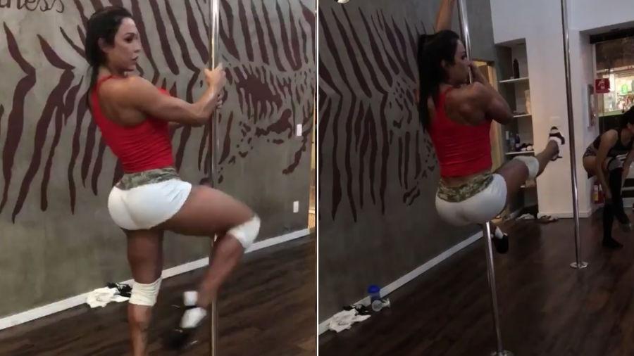Gracyanne Barbosa mostra suas habilidades em aula de pole dance