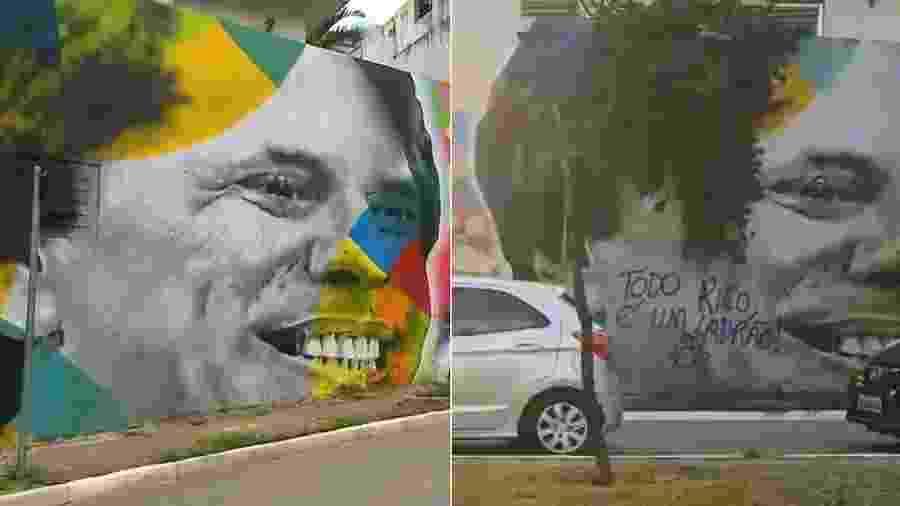 Mural em homenagem a Silvio Santos antes e depois de ser pichado - Montagem/UOL/Reprodução/SBT/Instagram