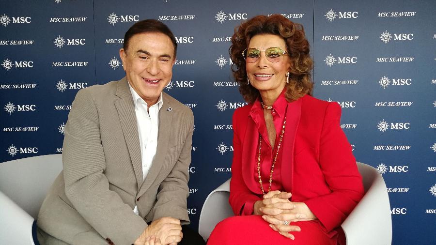 Amaury Jr e Sophia Loren durante papo que vai ao ar neste sábado, na Band - Divulgação