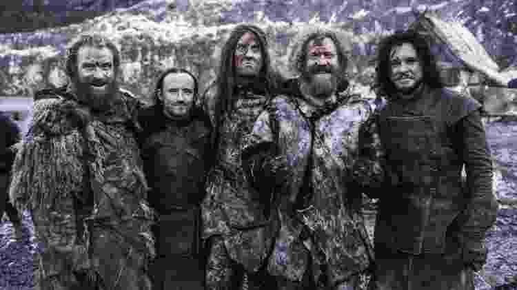 """Membros da banda Mastodon durante filmagem de sua participação em """"Game of Thrones"""" - Reprodução - Reprodução"""