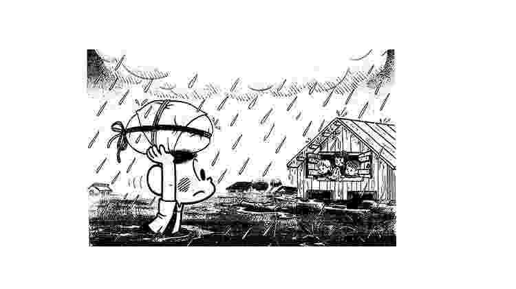 Em 1983, Cascão apareceu na capa da ?Folhinha?, entrando na água, para ajudar vítimas das enchentes no Sul - Reprodução - Reprodução