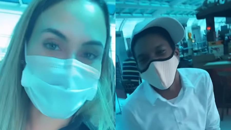 BBB 21: Sarah e Lucas Penteado se encontram em avião - Reprodução/Globoplay