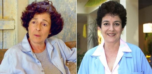 """A atriz Bia Montez em """"Malhação"""" como Marilu (à esquerda) e Dona Vilma - Montagem/Divulgação/TV Globo"""