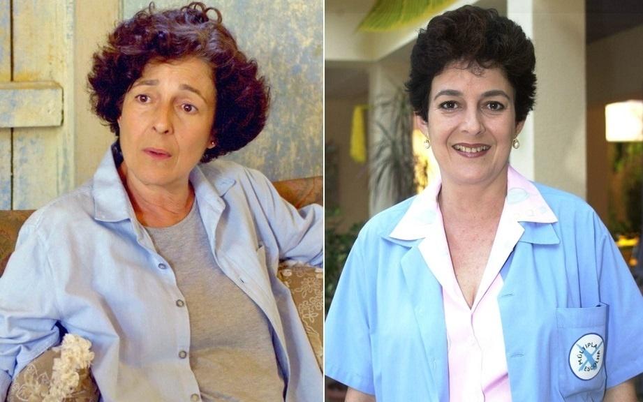 """A atriz Bia Montez em """"Malhação"""" como Marilu (à esquerda) e Dona Vilma"""