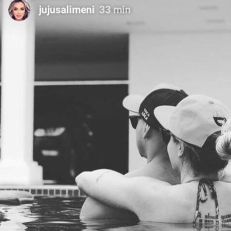Juju postou nesta sexta foto com Felipe na piscina  - Reprodução/Instagram