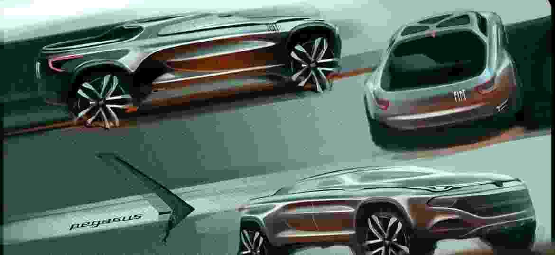 """Sketch da picape Toro, pelo designer """"Pegasus""""; Fiat, Ford e Volkswagen são as empresas envoldidas - Reprodução"""