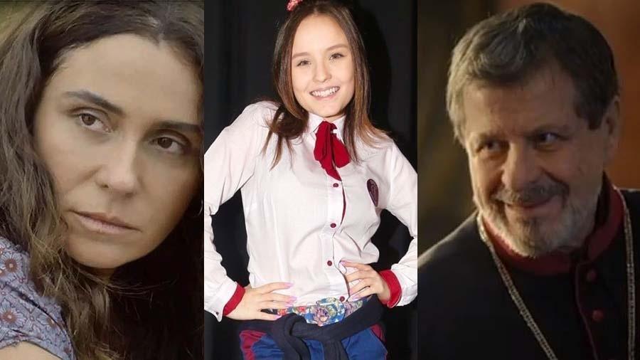 Giovanna Antonelli (Segundo Sol), Larissa Manoela (Poliana) e Flávio Galvão  (Apocalipse) Imagem  Montagem UOL 8bf467c3a6