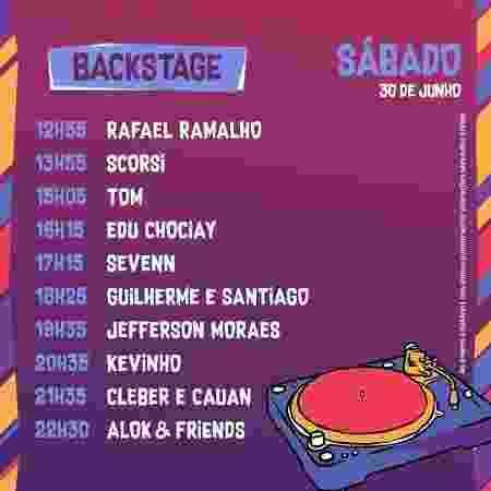Horários do palco Backstage do VillaMix Festival Goiânia no sábado - Divulgação - Divulgação