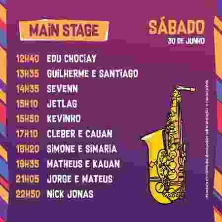 Horários dos show do palco principal do VillaMix Festival Goiânia no sábado - Divulgação - Divulgação