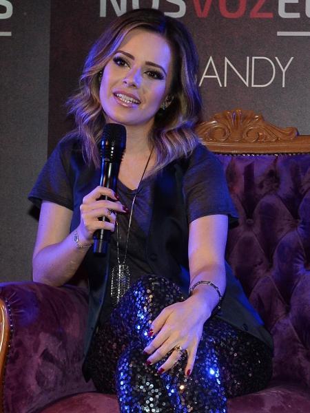 """A cantora Sandy durante coletiva em São Paulo para divulgar o projeto """"Nós, Voz, Eles"""" - Francisco Cepeda/AgNews"""