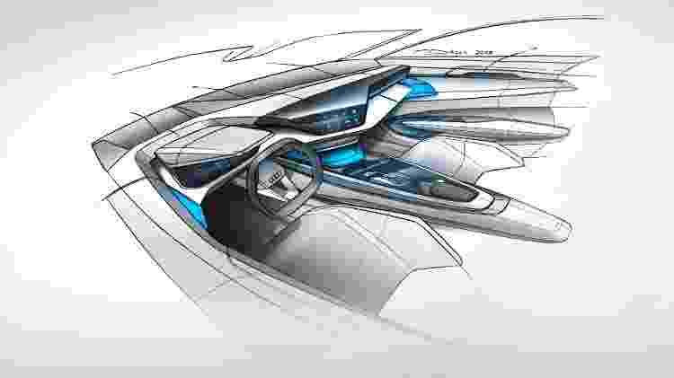 Esboço inicial da cabine do e-tron GT essencialmente não mudou na versão de produção do cupê elétrico - Divulgação
