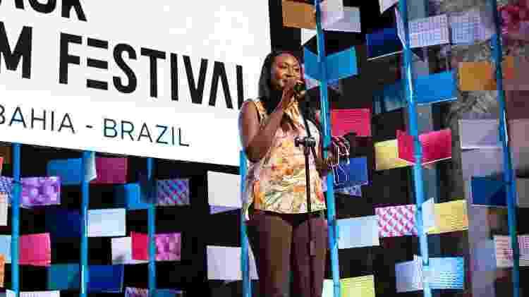 Fabienne fala durante lançamento do Black Film Festival, em dezembro de 2019, em Salvador - Divulgação/Wendell Wagner