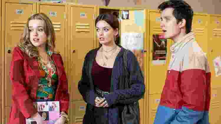 Aimee (Aimee Lou Wood), Maeve (Emma Mackey) e Otis (Asa Butterfield) em Sex Education - Divulgação/Netflix - Divulgação/Netflix