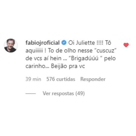 BBB 21: Comentário de Fábio Jr. na foto de Juliette - Reprodução/Instagram - Reprodução/Instagram