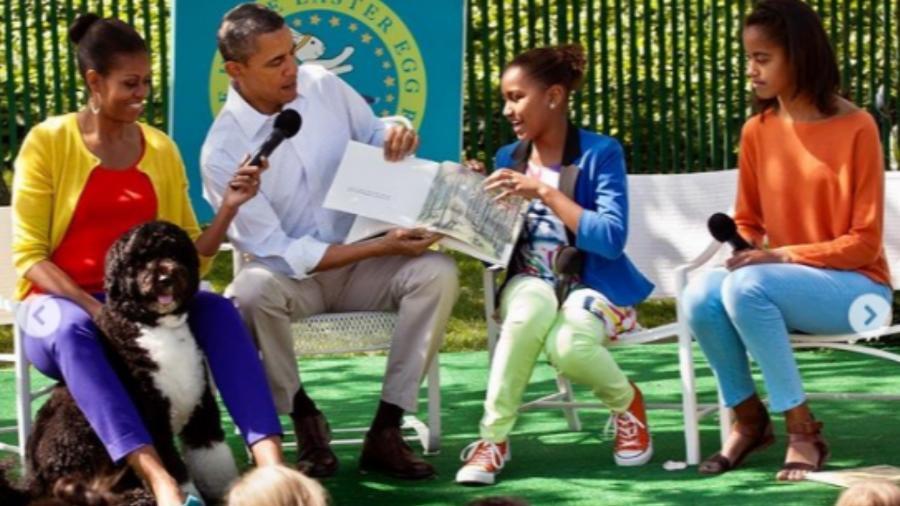 A família Obama com Bo, que lutou contra um câncer - Reprodução/Instagram