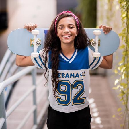 Rayssa Leal com camiseta da escola em que estuda em Imperatriz (MA) - Arquivo pessoal
