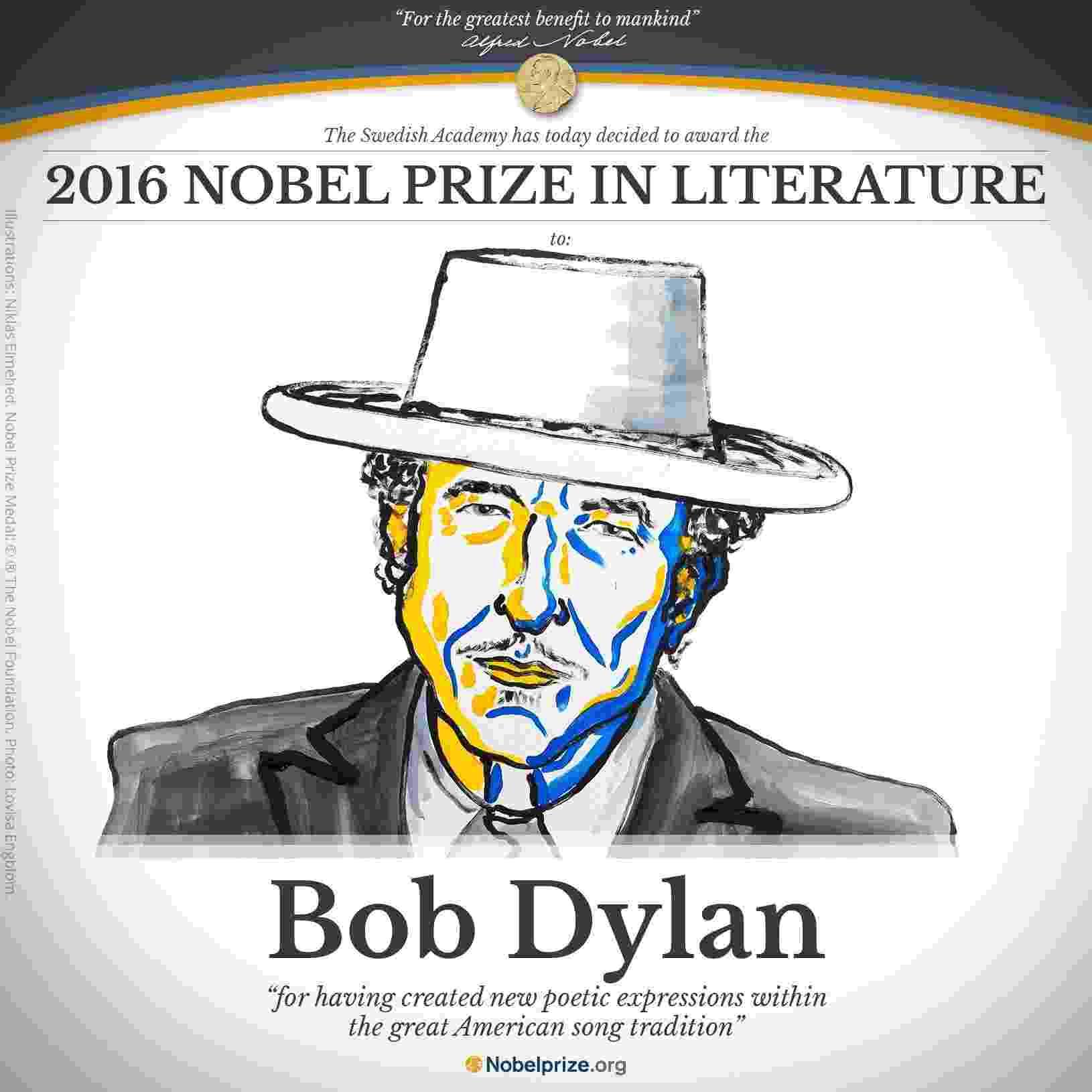Bob Dylan vence Prêmio Nobel de Literatura 2016 - Reprodução/Twitter/nobelprize