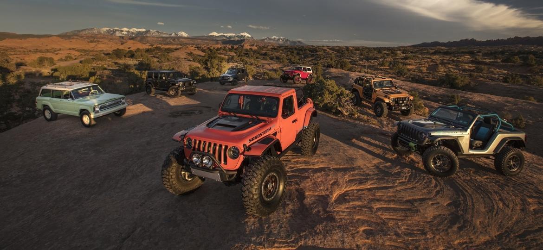 São quatro criações da Jeep (4 Speed, Sandstorm, B-Ute e Wagoneer  Roadtrip) e três da Mopar (Nacho, Jeepster e J-Wagon) - Divulgação/FCA