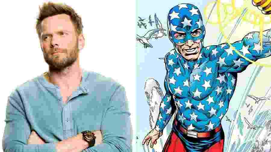 O ator Joel McHale e o herói Starman nos quadrinhos - Reprodução/Variety