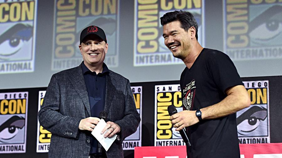 """20.jul.2019 - Destin Daniel Cretton, diretor de """"Shang-Chi"""", à direita, com Kevin Feige - Getty Images"""
