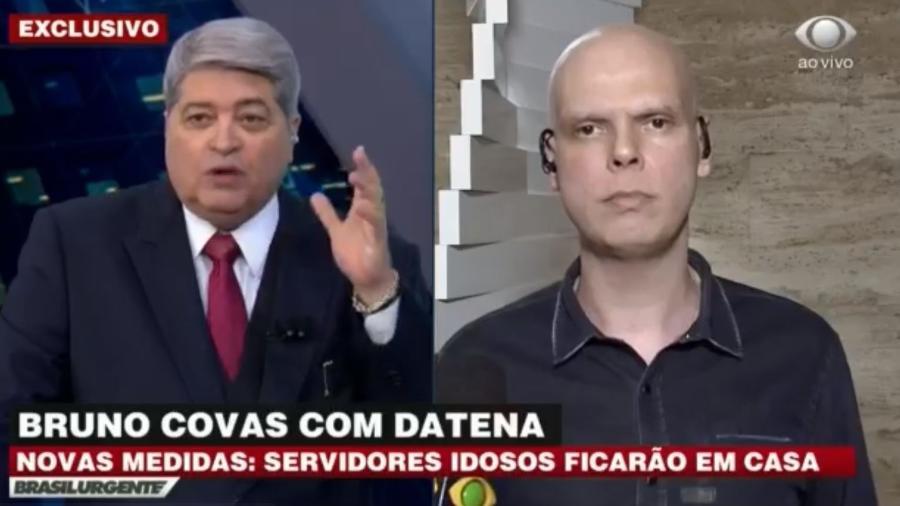 Bruno Covas concede entrevista ao Brasil Urgente sobre medidas da cidade de São Paulo contra o coronavírus - Reprodução/Band