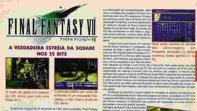 Review da versão japonesa de Final Fantasy VII na Gamers - Reprodução