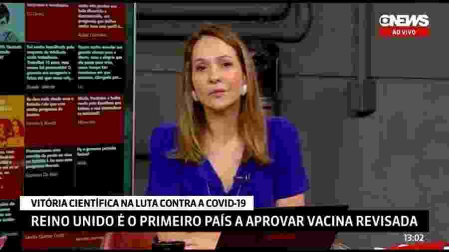 Maria Beltrão durante o programa Estúdio I - Reprodução/Twitter