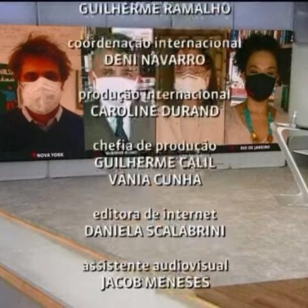 """Jornalistas usam máscaras ao final do programa """"Em Pauta"""" - Reprodução/GloboPlay"""