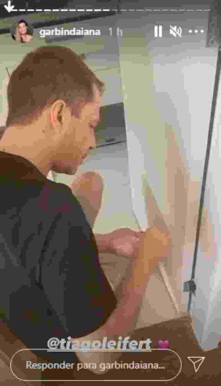 Leifert fazendo reparo em porta de banheiro - Reprodução/Instagram - Reprodução/Instagram