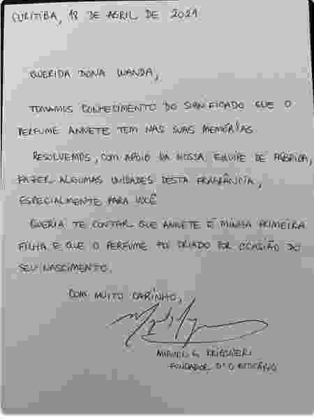 Carta do fundador do Grupo Boticário, Miguel Krigsner, para Wanda - Arquivo pessoal - Arquivo pessoal