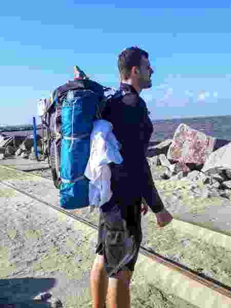 Gustavo levou uma mochila com 27 quilos, com tudo o que precisava para a aventura - Arquivo pessoal - Arquivo pessoal