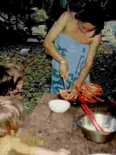 Almoço com lagosta em Caroline Island - Arquivo pessoal - Arquivo pessoal