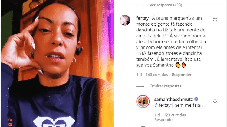 Samantha Schmütz responde comentário em seu Instagram - Reprodução/Instagram - Reprodução/Instagram