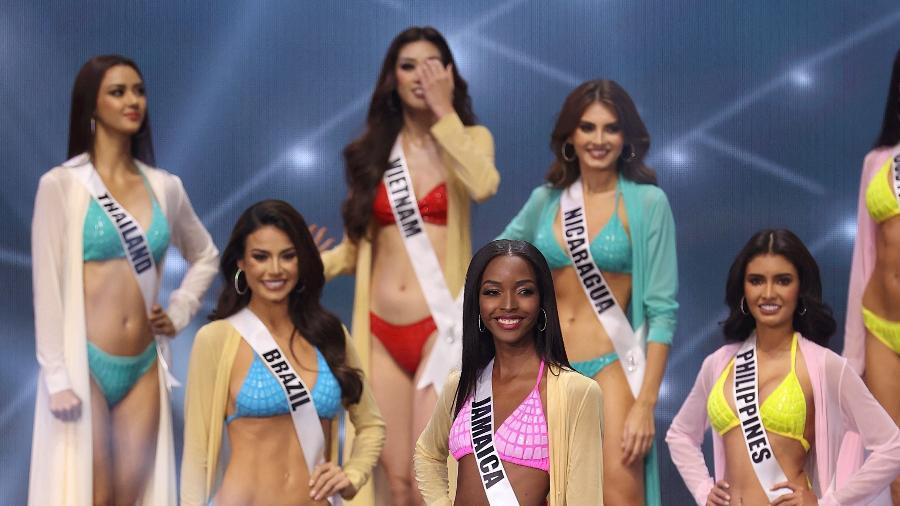 Tradicional etapa em que as participantes desfilam de maiô ou biquíni no Miss Universo - Rodrigo Varela/Getty Images/AFP