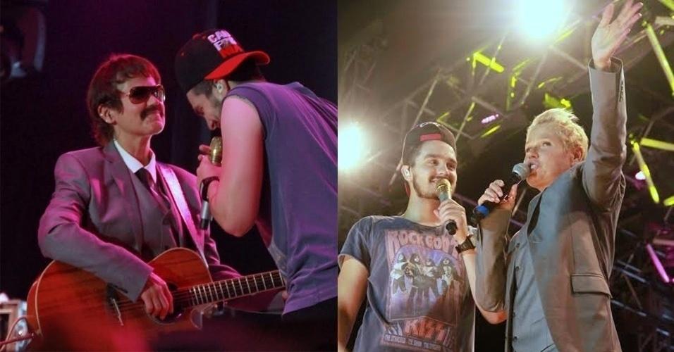2.mar.2016 - Xuxa surpreendeu os fãs de Luan Santana na madrugada deste sábado. Enquanto o cantor se apresentava em uma casa de espetáculos do Rio, a apresentadora subiu ao palco disfarçada e começou a tocar violão. Em seguida, Xuxa tirou a peruca e revelou sua verdadeira identidade para a plateia