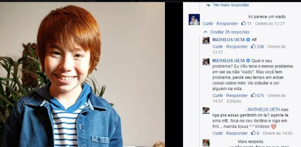 O ator e apresentador Matheus Ueta não gostou de comentário preconceituoso em seu Facebook - Reprodução/Facebook/Matheus Ueza