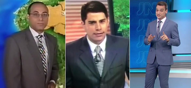 """Carlos Magno, Evaristo Costa e Tiago Scheuer: os """"homens do tempo"""" da Globo - Montagem/Reprodução/TV Globo"""