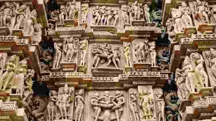 A arte exibida nos templos de Khajuraho é extremamente bem detalhada e preservada - Getty Images/iStockphoto - Getty Images/iStockphoto
