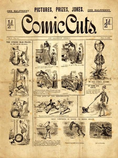 """""""Comic Cuts"""", considerada a primeira revista em quadrinhos - Reprodução"""