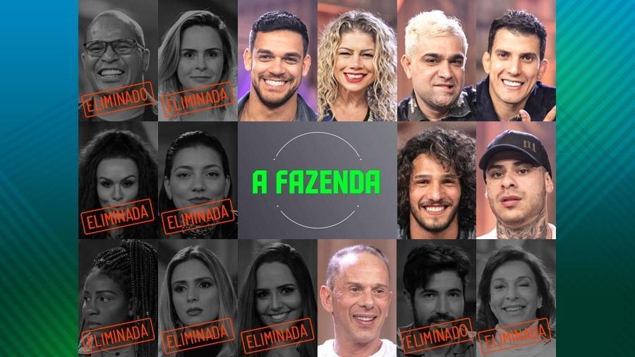 """Peões que continuam em """"A Fazenda 10"""" após oitava roça  - Montagem/Edu Moraes/Record TV"""