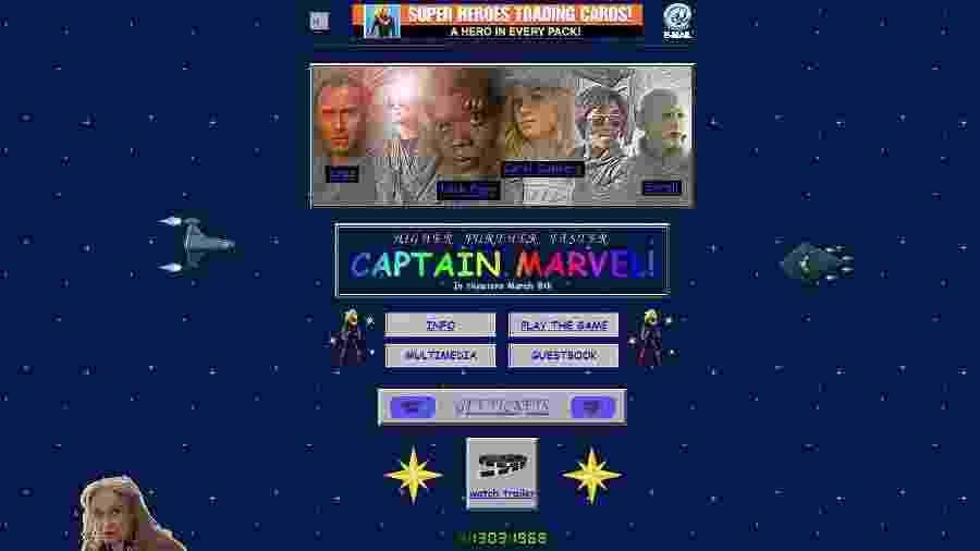 """Site de """"Capitã Marvel"""" - Reprodução"""